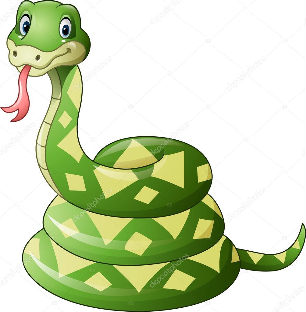 Cartone animato carino serpente verde — vettoriali stock