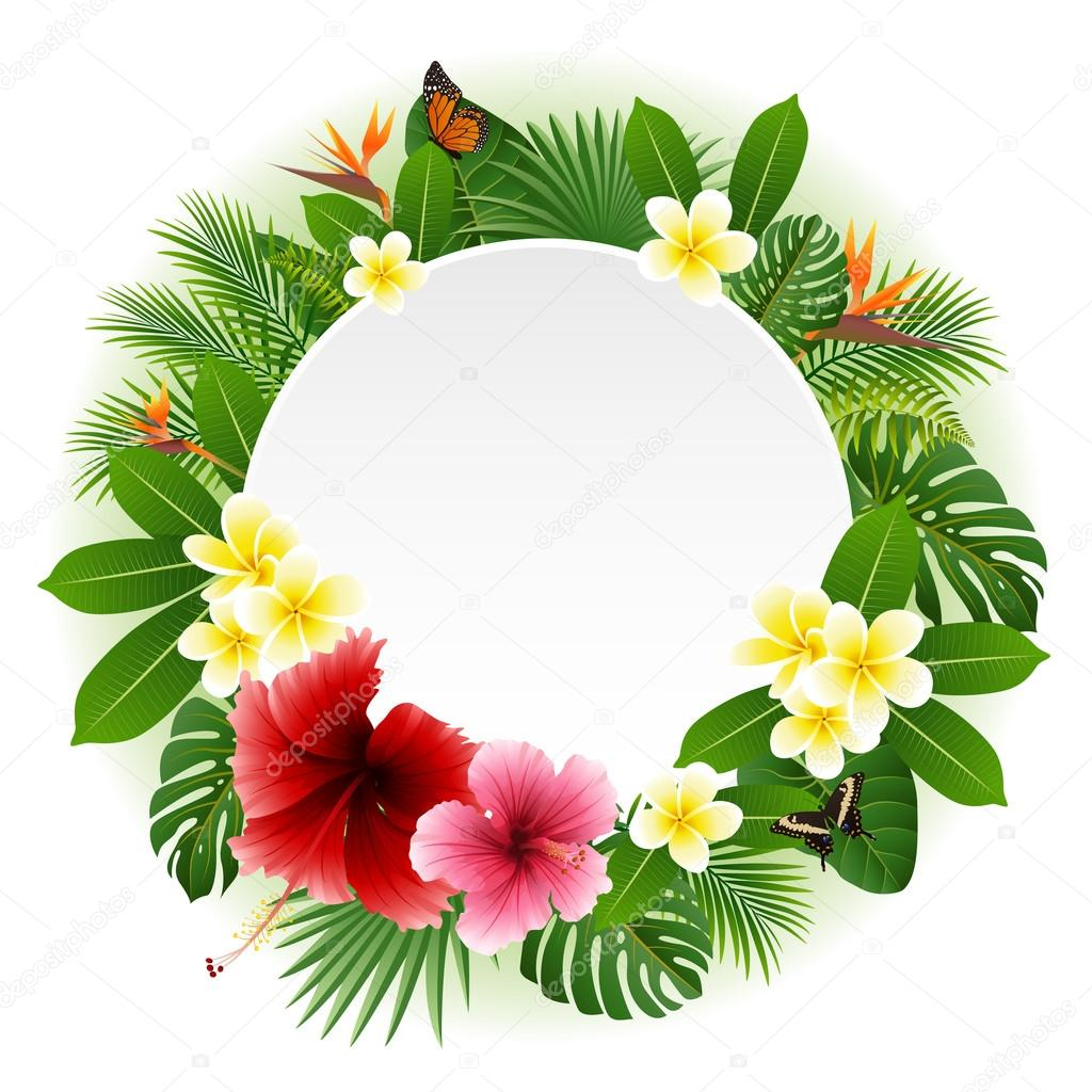 Circle blank sign with flowers and leaves background