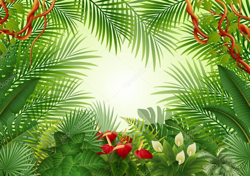 Seamless with Tropical forest background