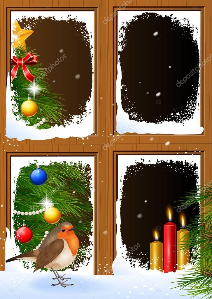 Christmas scenes seen through a wooden window