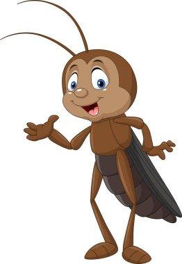 Cartoon cricket presenting