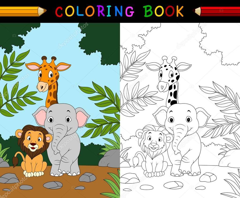 Livro De Colorir Animais De Safári De Desenhos Animados