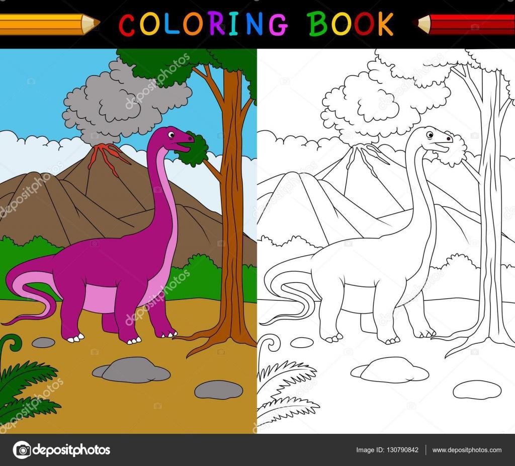 Cartoon Apatosaurus Kleurplaat Stockvector C Dreamcreation01