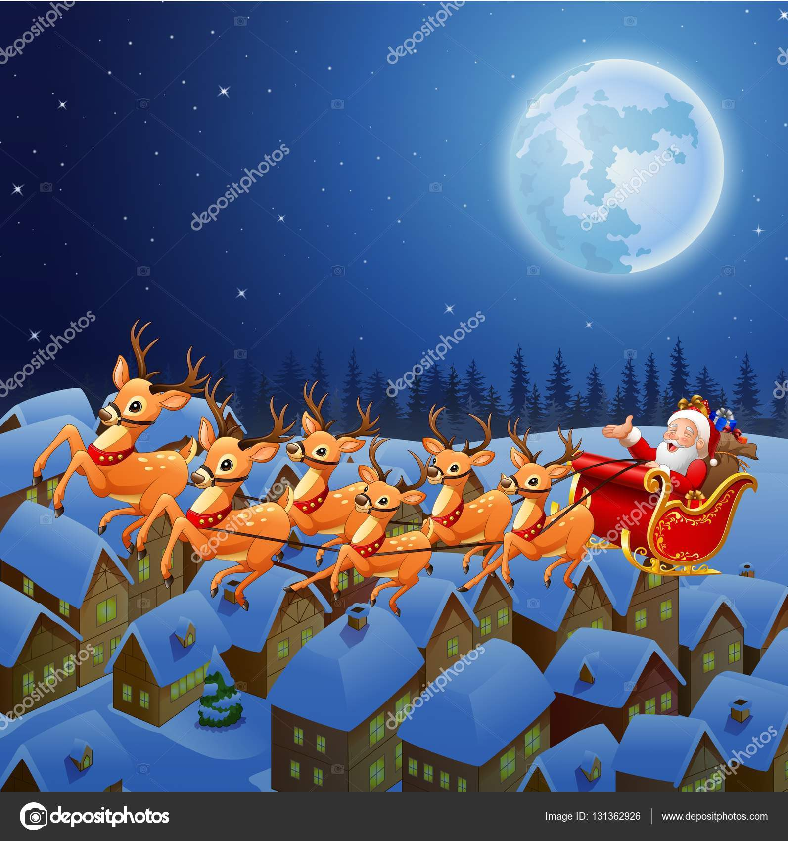santa claus riding his reindeer sleigh flying in the sky u2014 stock