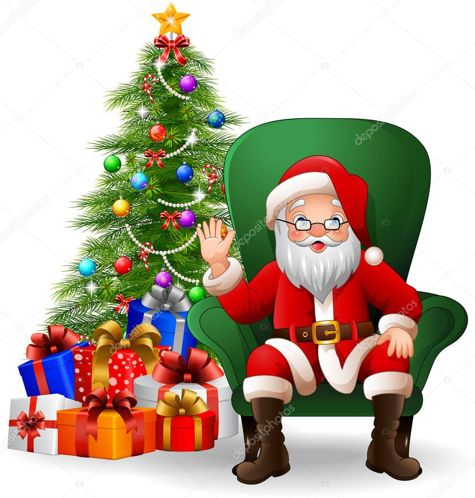 Cartoon Santa Claus Sitting On Green Arm Chair Image