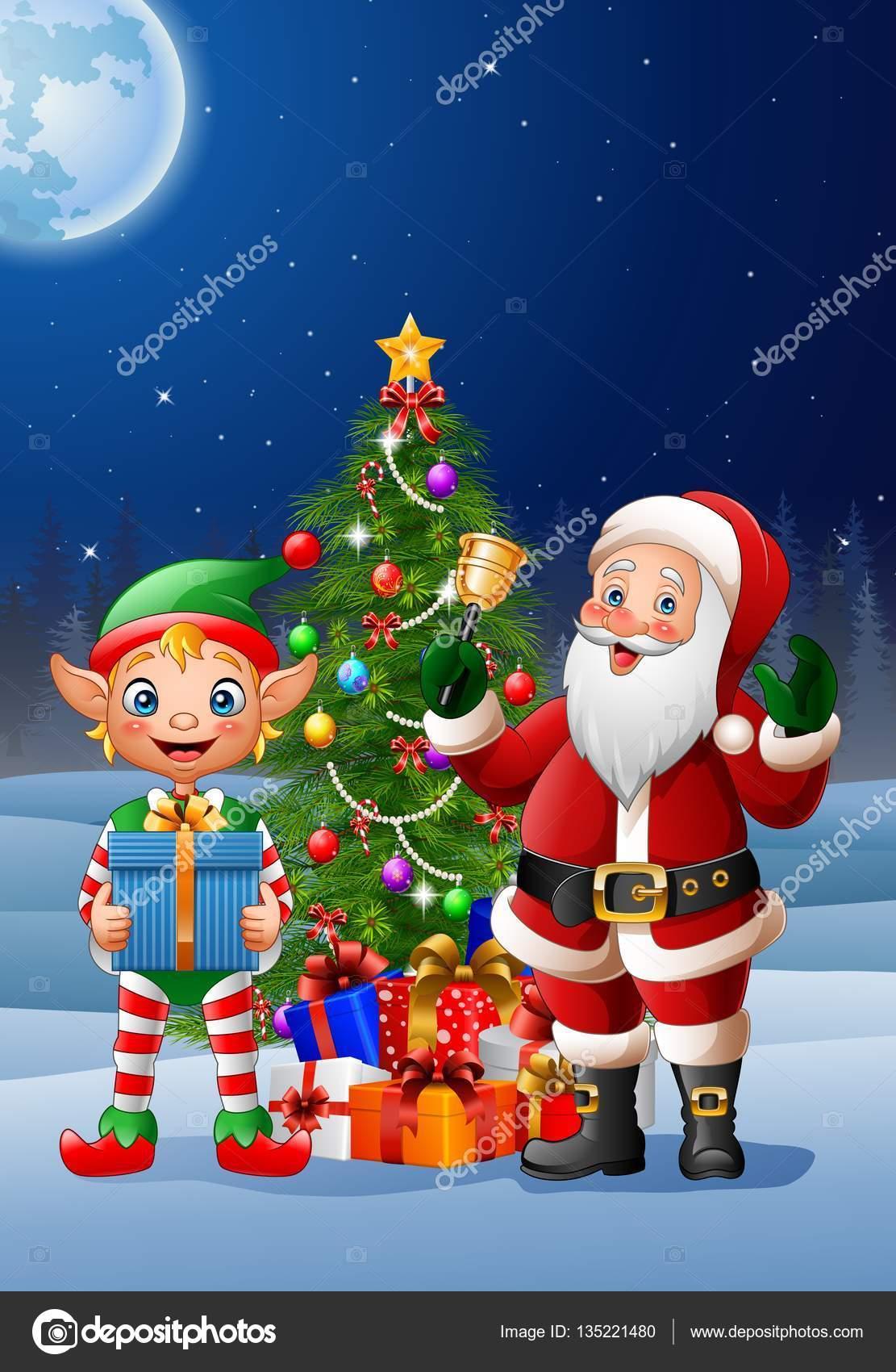Immagini Di Natale Con Babbo Natale.Sfondo Di Natale Con Babbo Natale Ed Elfo Vettoriali Stock