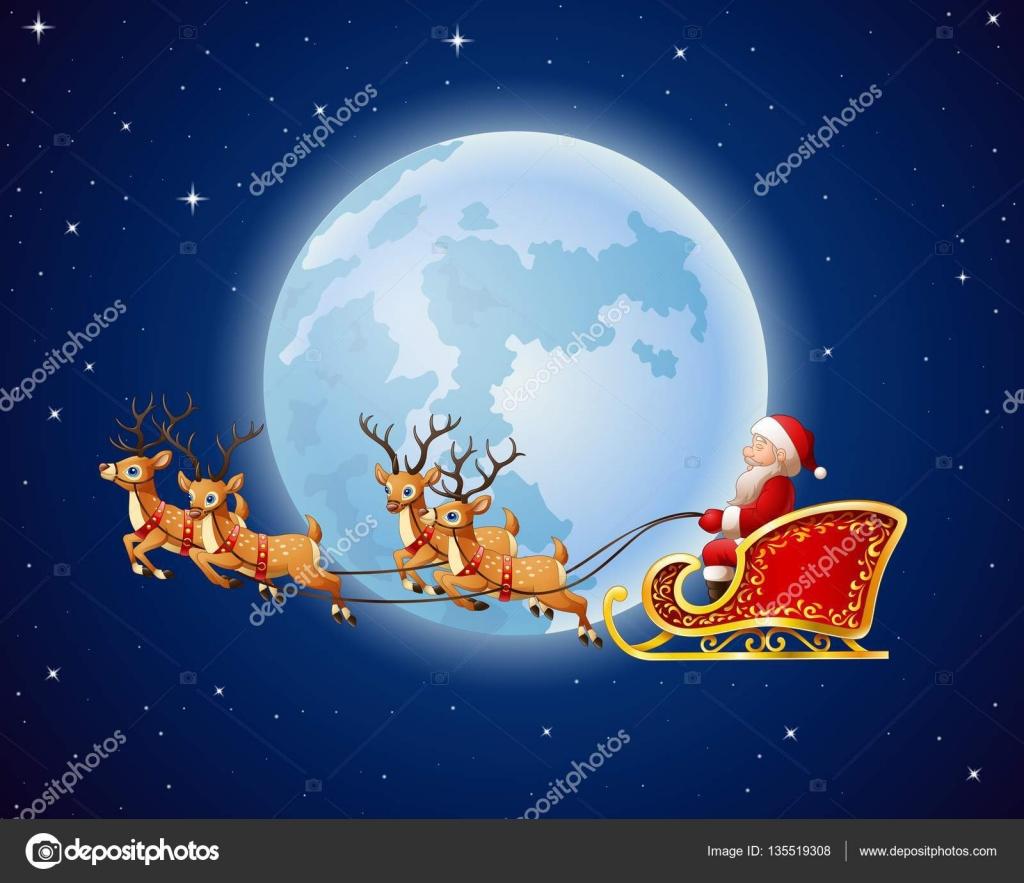 weihnachtsmann fährt rentierschlitten vor