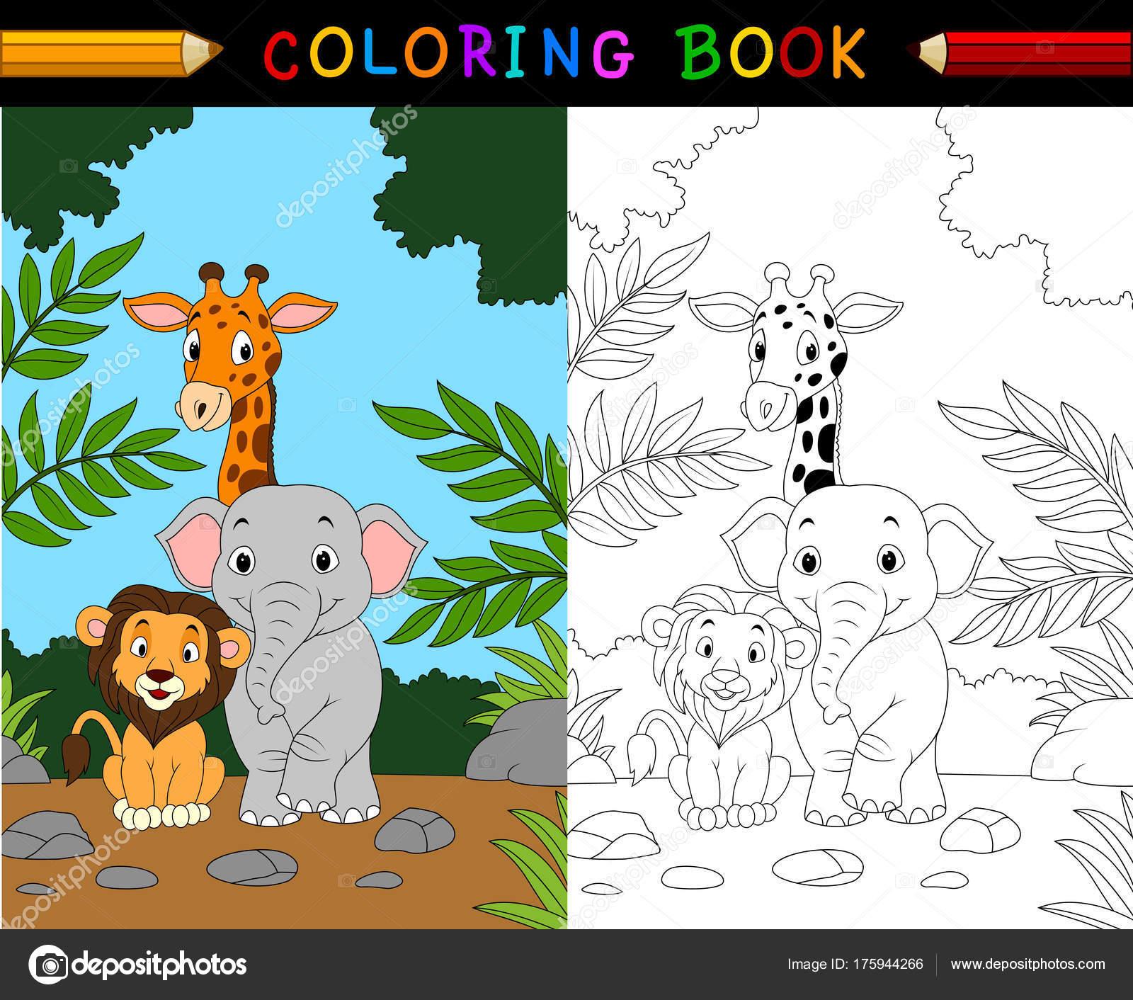 Libro Animales Para Colorear Dibujos Animados Safari — Archivo ...