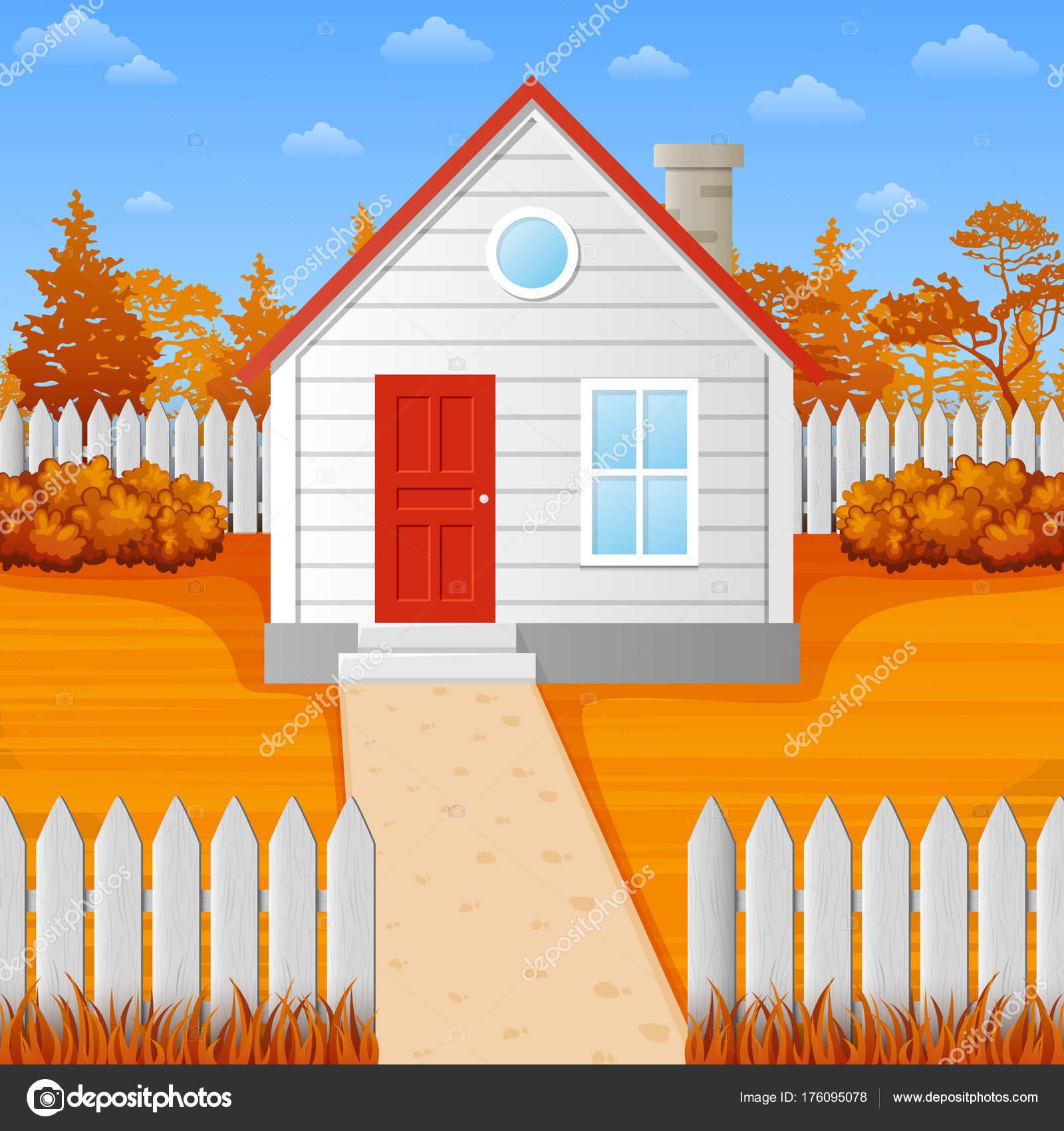 Maison bois dessin animé saison automne illustration de stock
