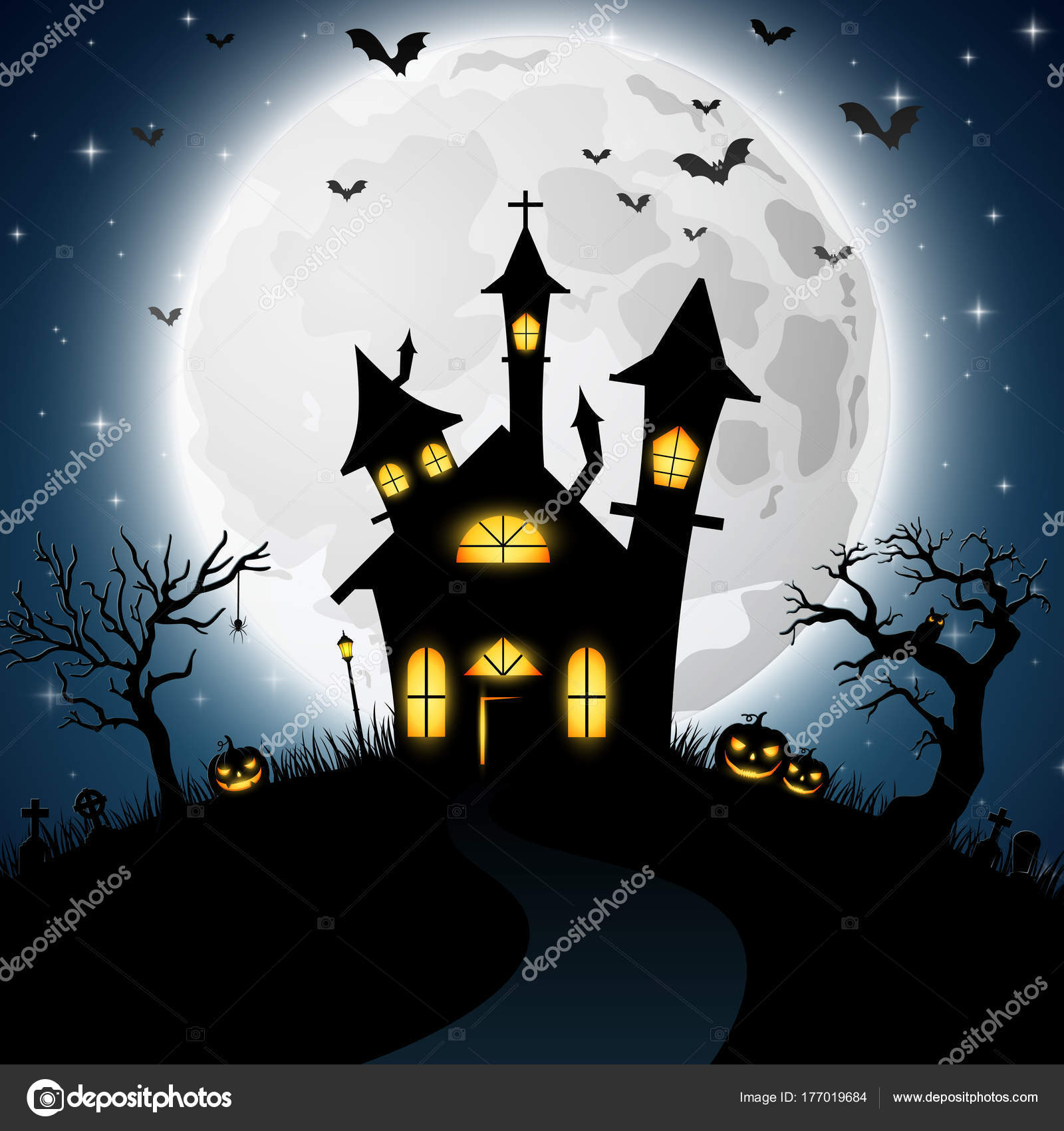 Halloween Chiesa.Priorita Bassa Halloween Con Spaventoso Chiesa Vettoriali Stock