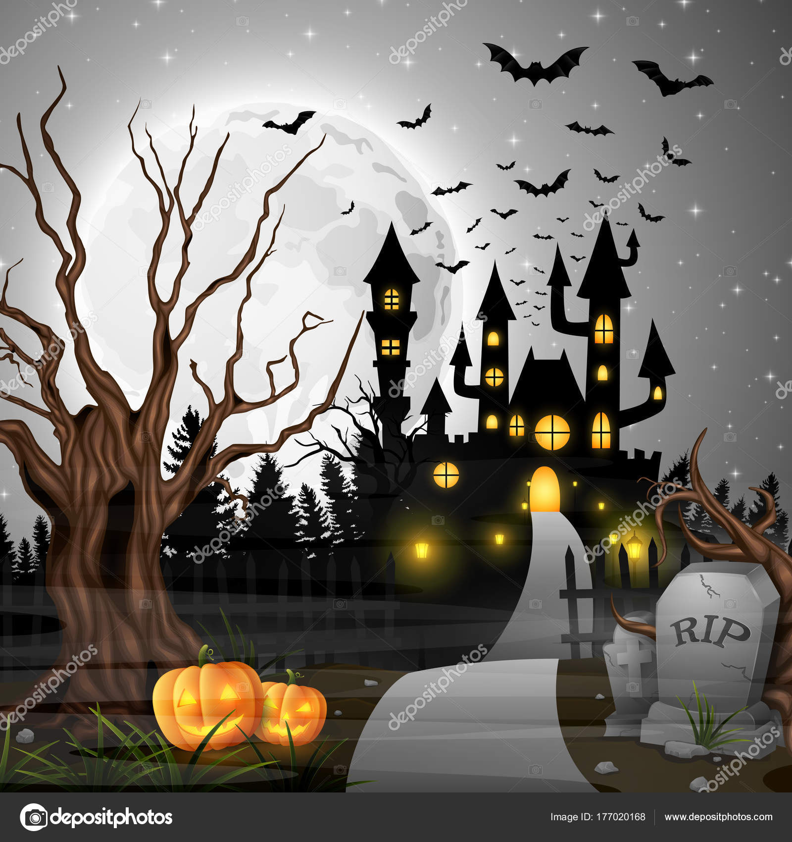 scary castle pumpkins bats woods stock vector dreamcreation01