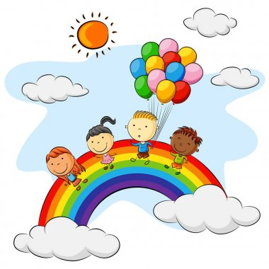 Group of kids playing above the rainbow with colorful balloons