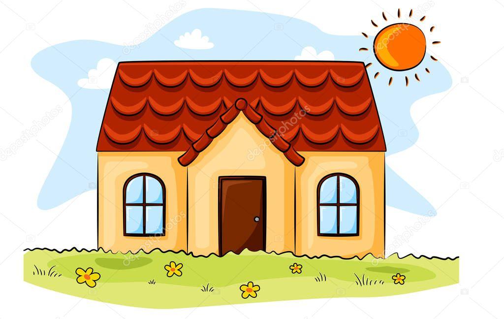 Casa Dibujos Animados Sol Campo