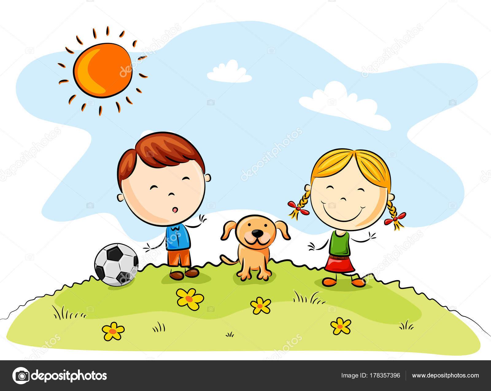 Niños Jugando Fútbol Con Perro Parque