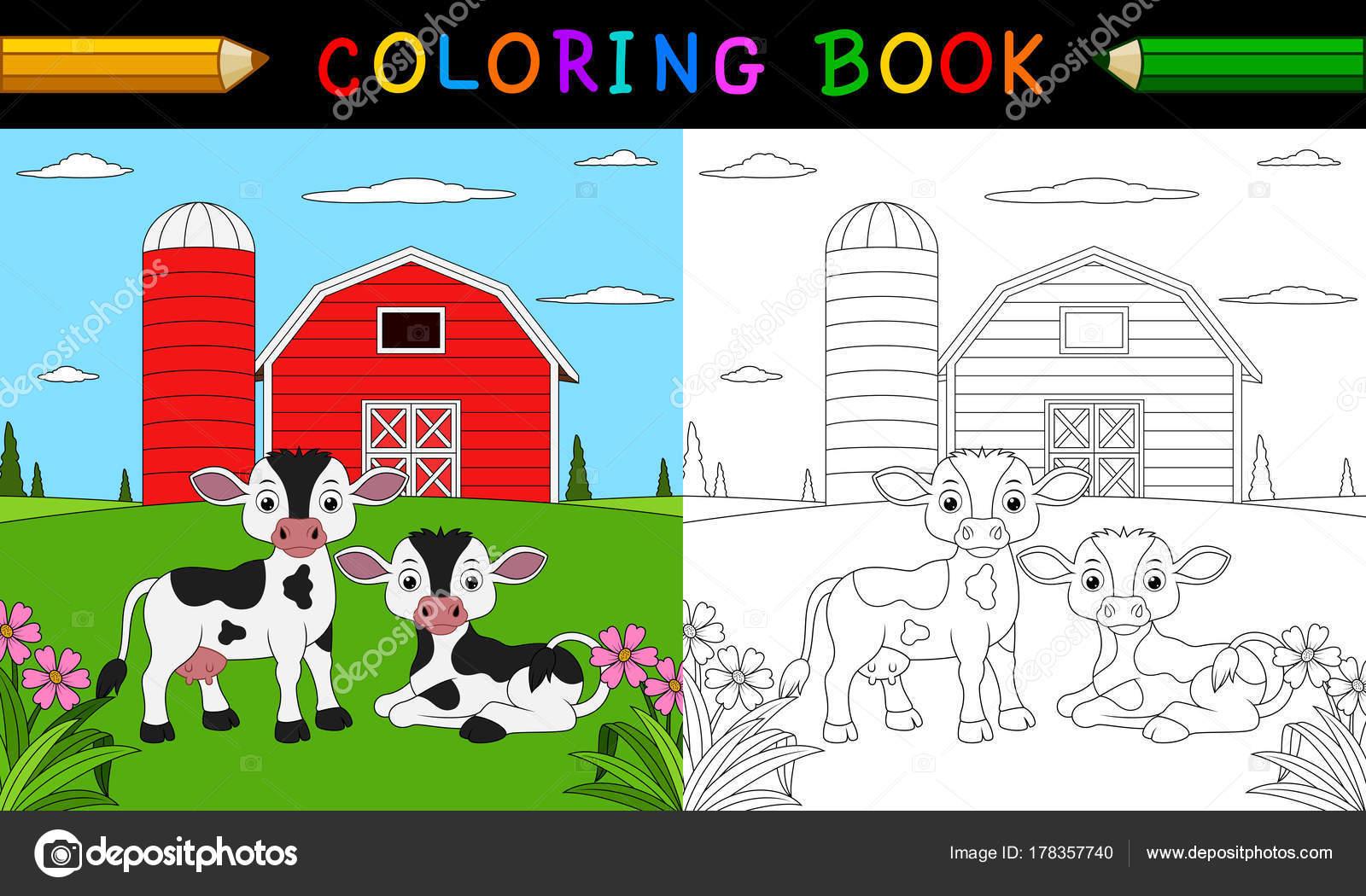 Karikatür Inek Boyama Kitabı Stok Vektör Dreamcreation01 178357740