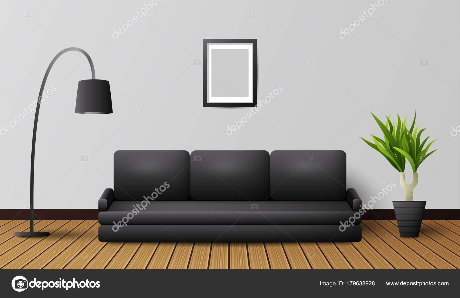 Divano Nero Moderno : Interno moderno salone con divano nero lampada u vettoriali stock