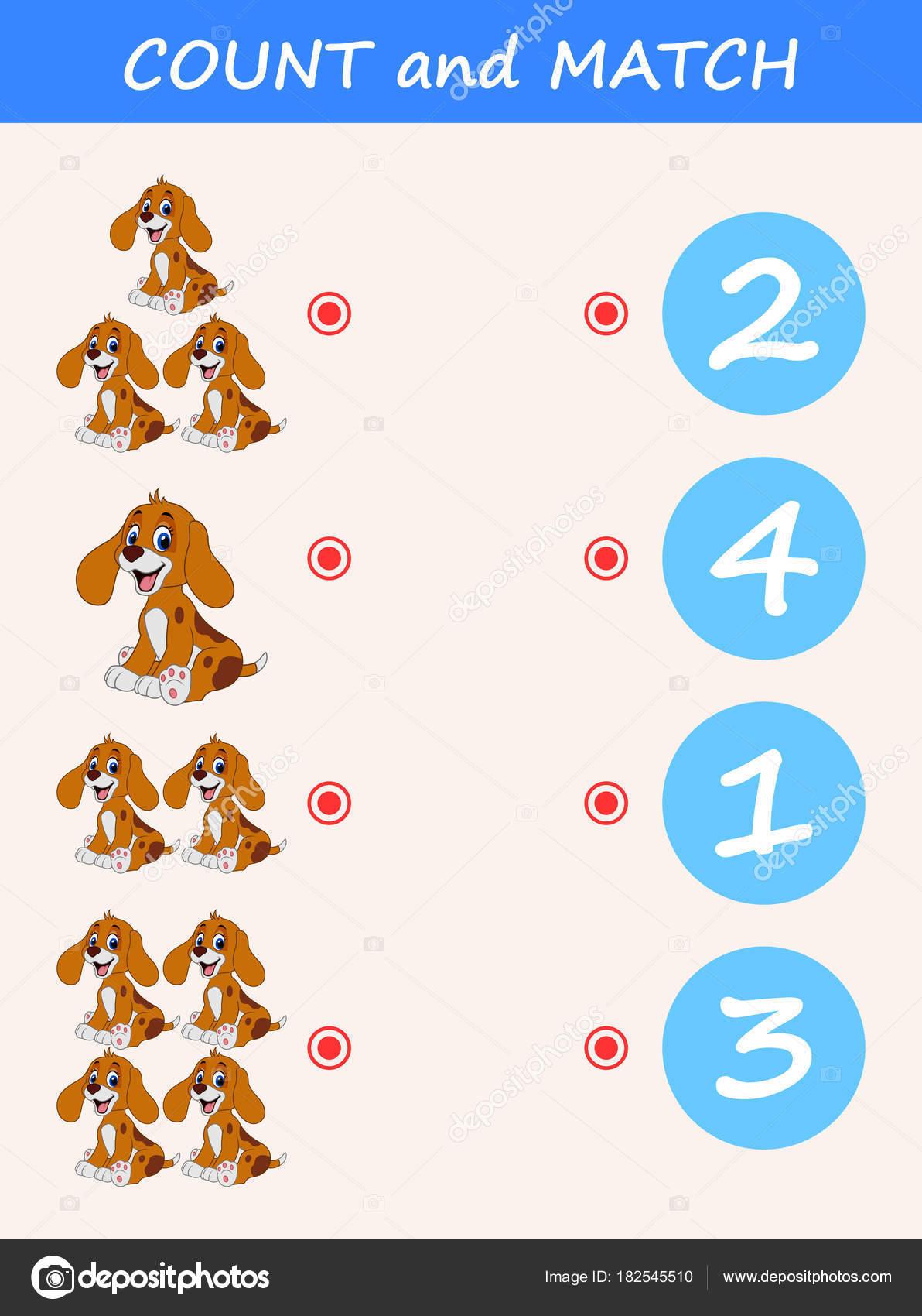 Graf Und Spiel Hund Cartoon Mathe Lernspiel Für Kinder — Stockvektor ...
