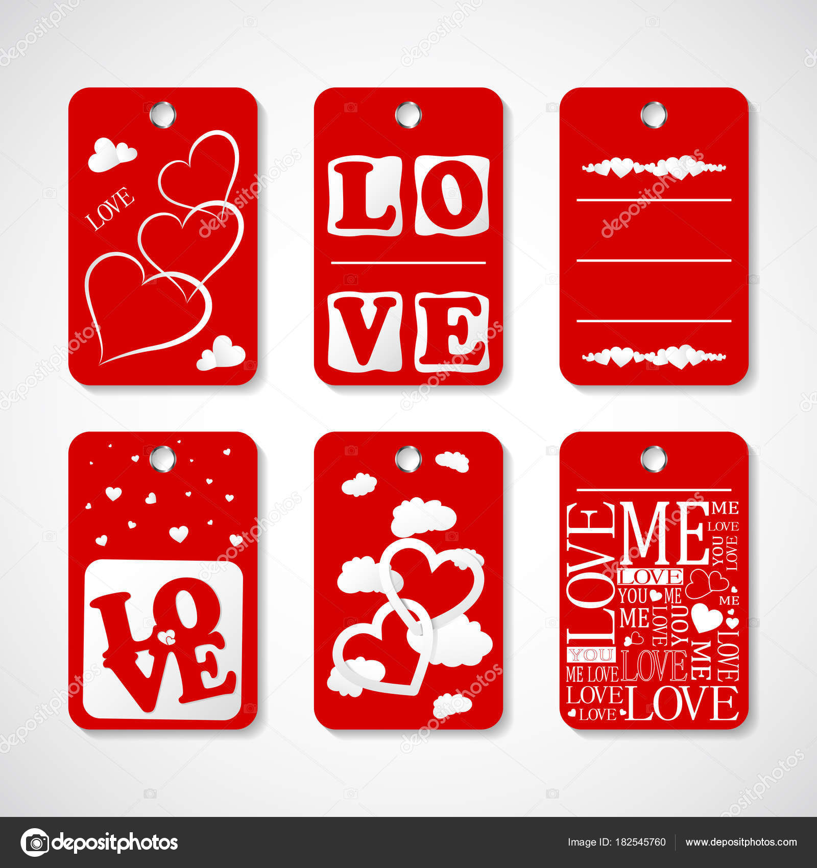 Collection Happy Valentines Day Gift Tags Set Hand Drawn Holiday