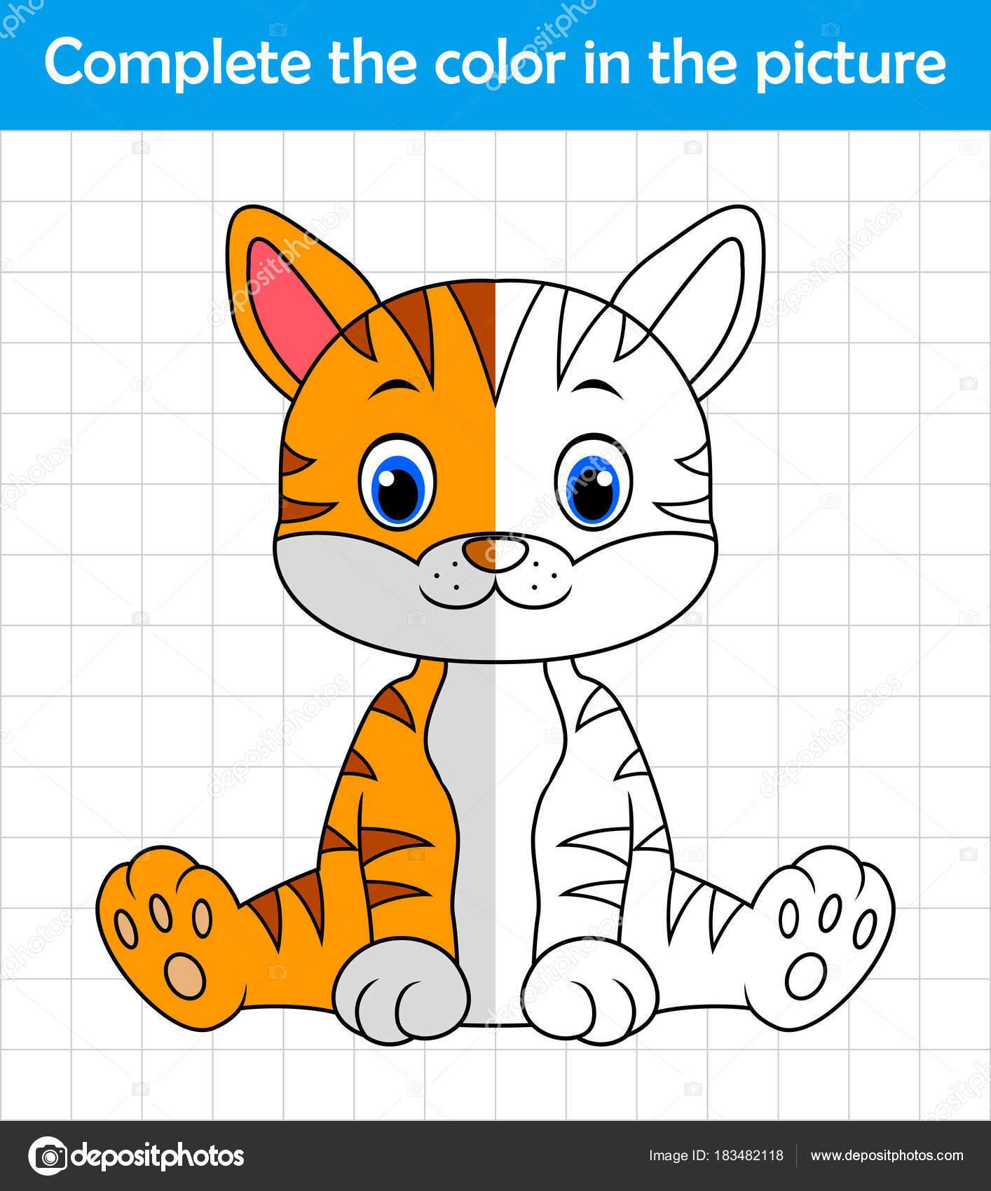 Divertido Gato Sentado Completar Los Niños Cuadro Dibujo Juego ...