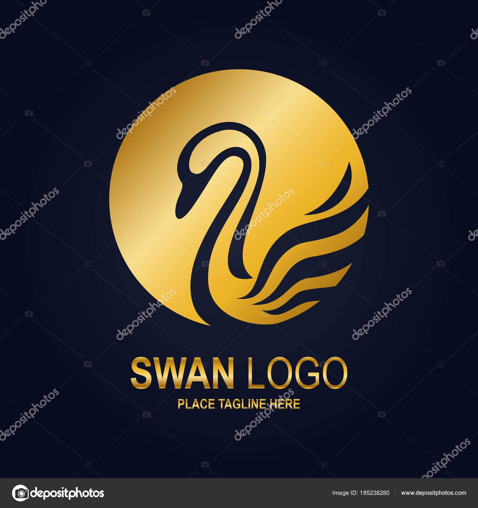 Plantilla Diseño Icono Cisne Icono Cisne Oro — Vector de stock ...