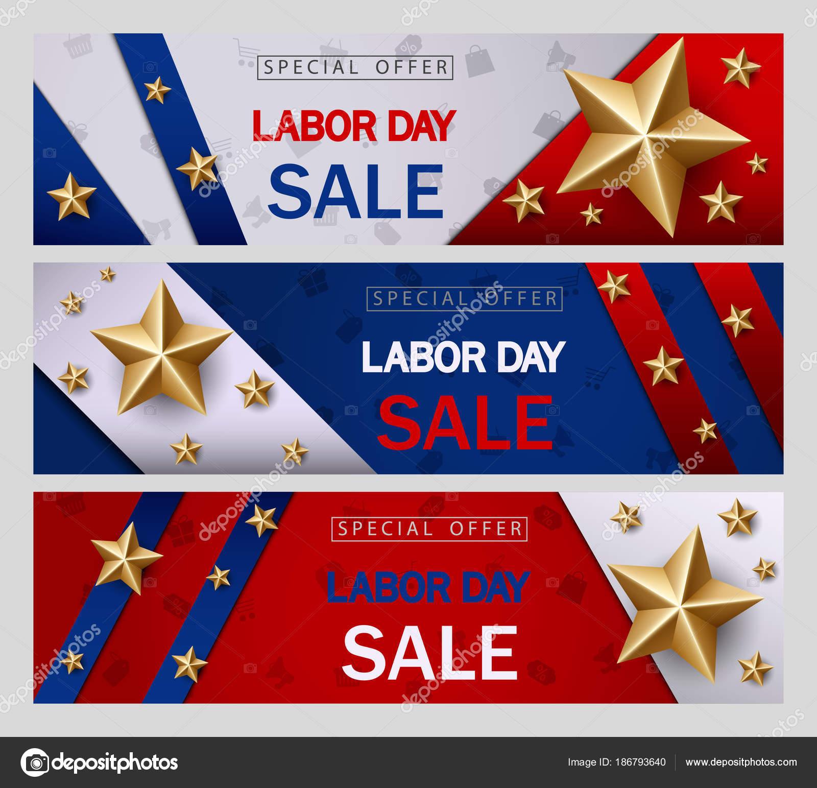 labor day sale banner template american flag golden star design