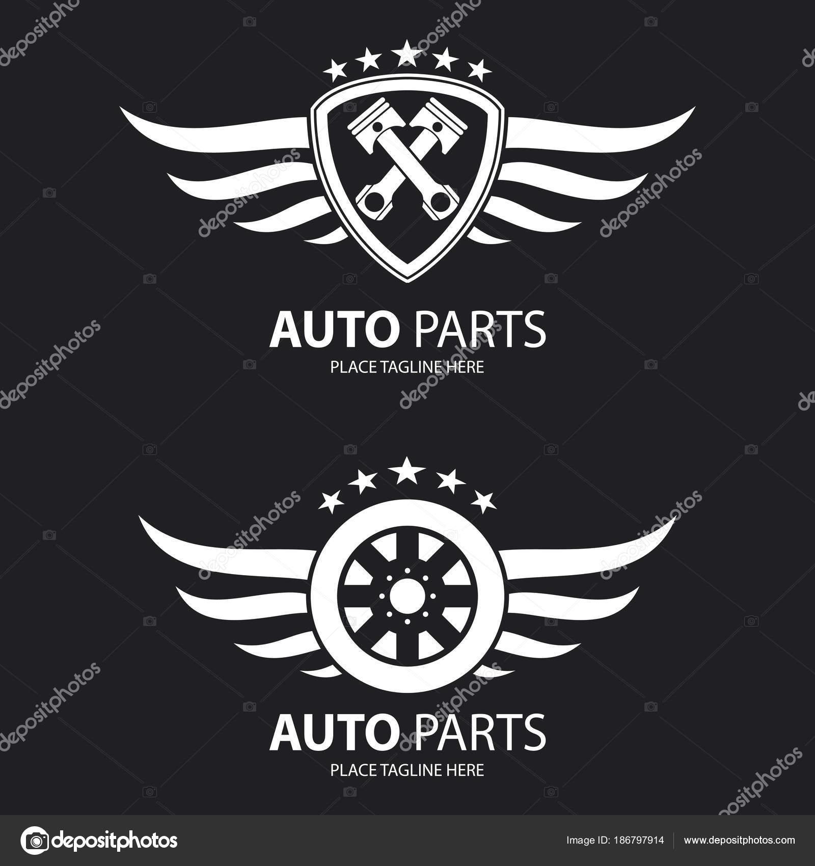 Auto Schild Symbol Und Geflügelten Rad Auf Schwarzem Hintergrund ...