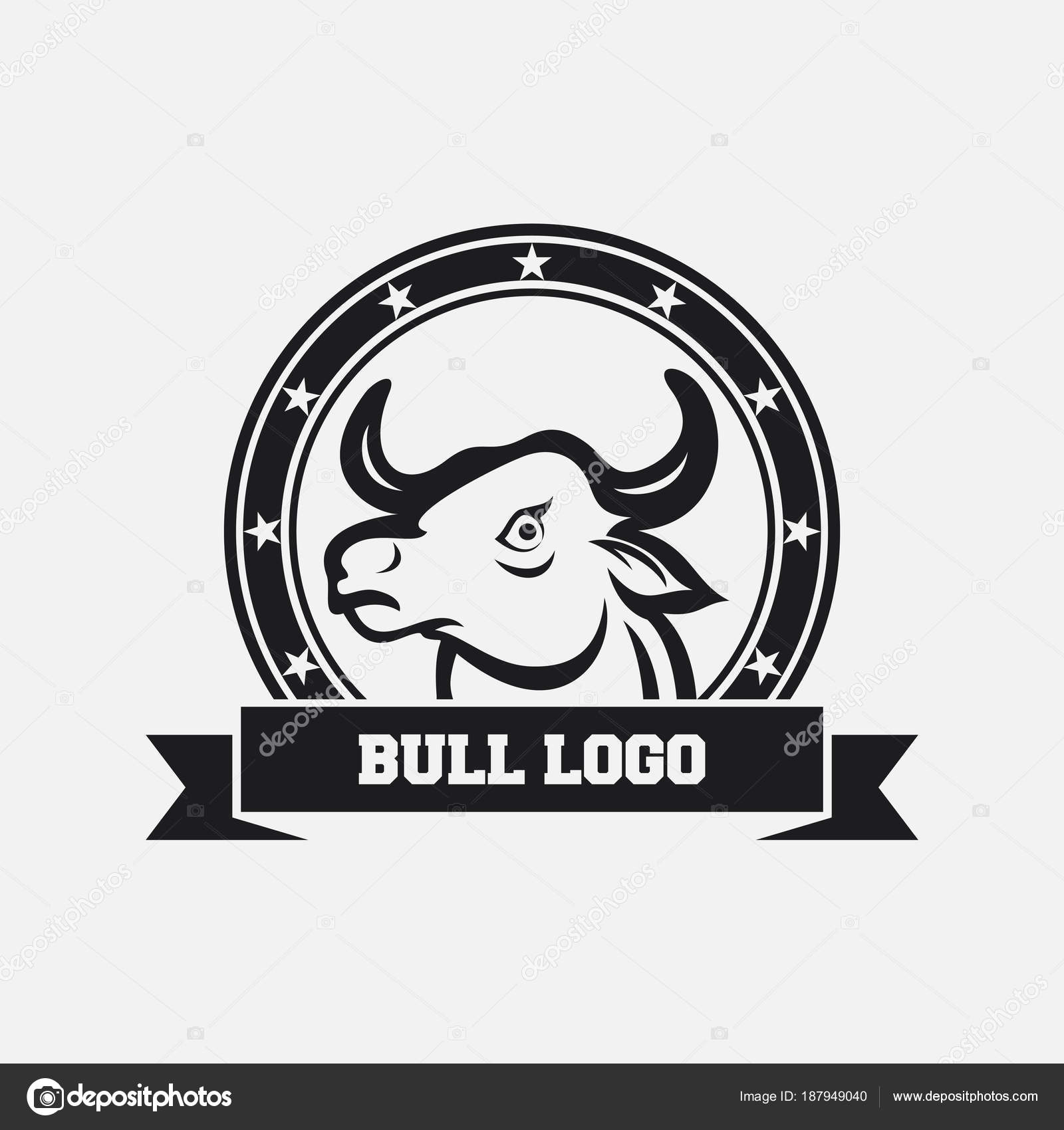 Plantilla Diseño Icono Mascota Cabeza Toro — Archivo Imágenes ...