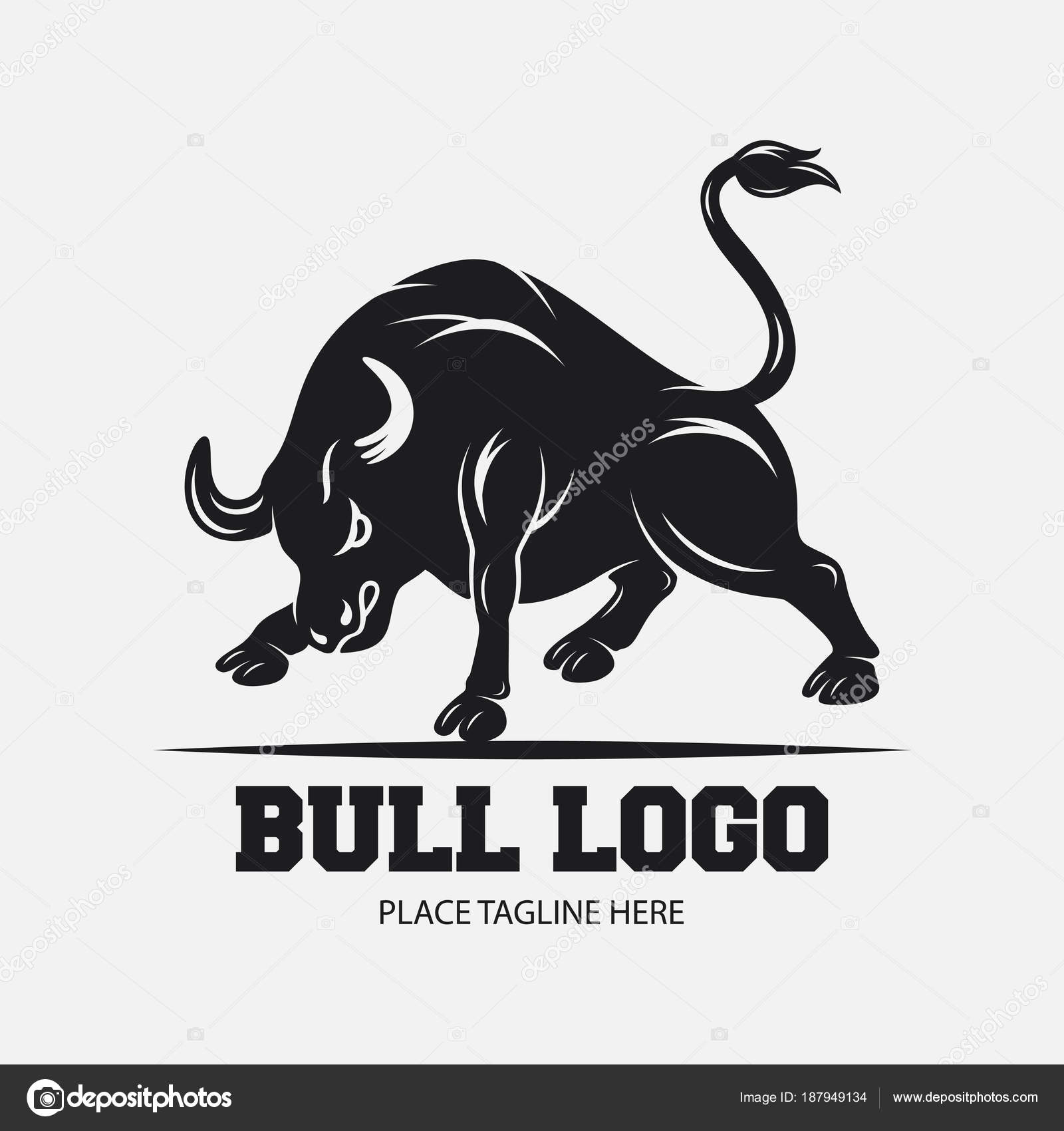 Plantilla Diseño Icono Toro Sobre Fondo Blanco — Archivo Imágenes ...