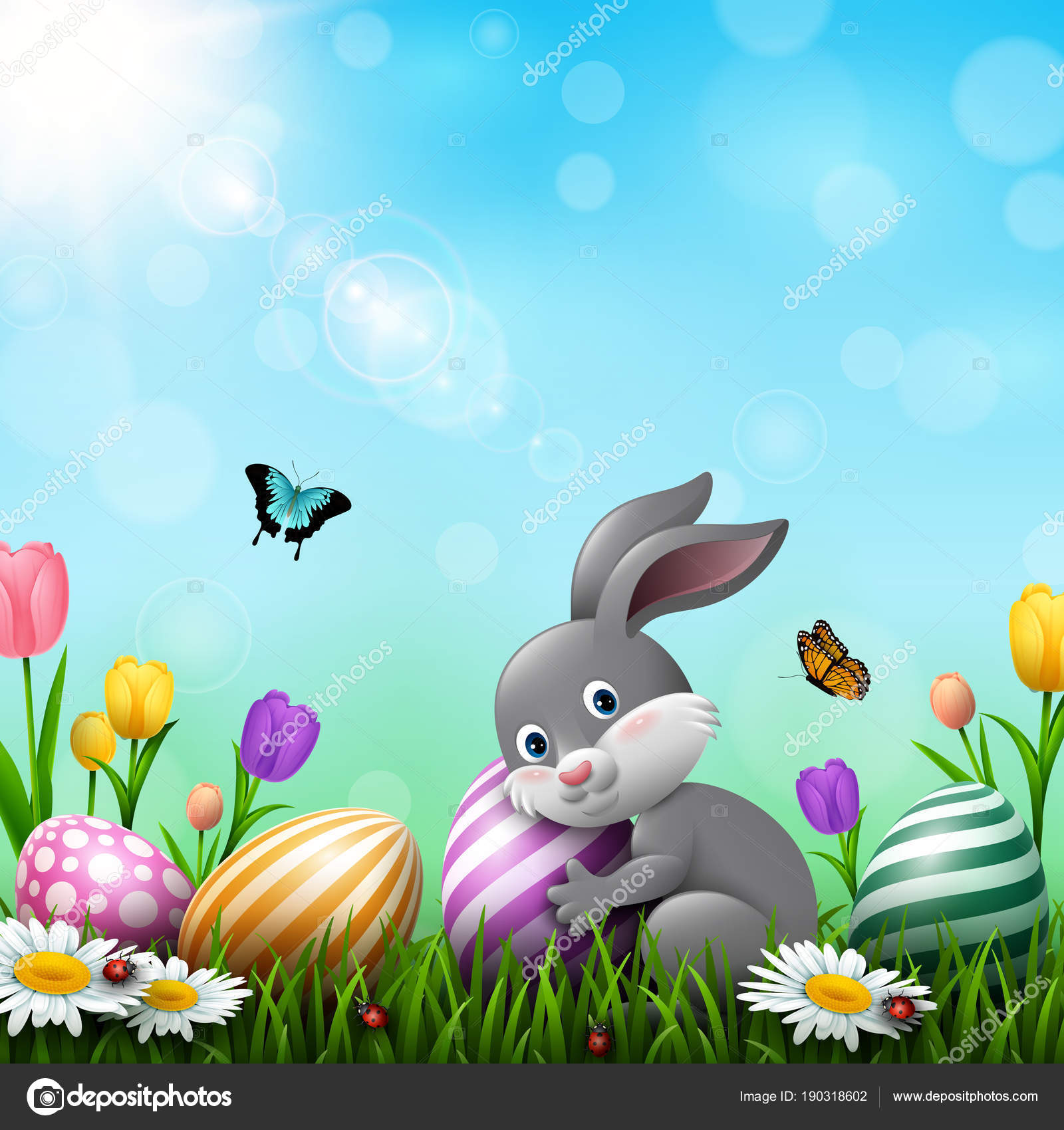 Easter Greeting Card Little Rabbit Colorful Eggs Flowers Grass