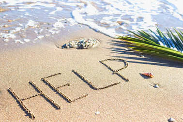 Help - sign in the sand on a background of sea and palm branch.