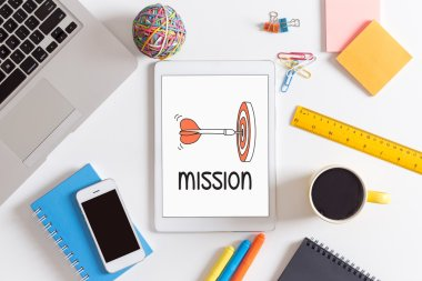Mission  text on screen. CONCEPT stock vector