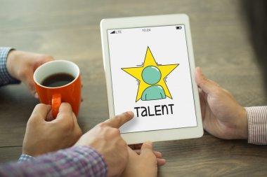 Talent text on screen