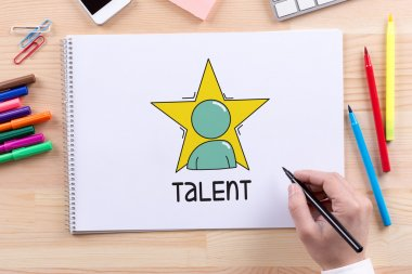 Talent text on paper