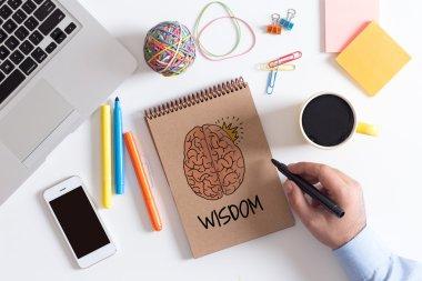 WISDOM text on paper
