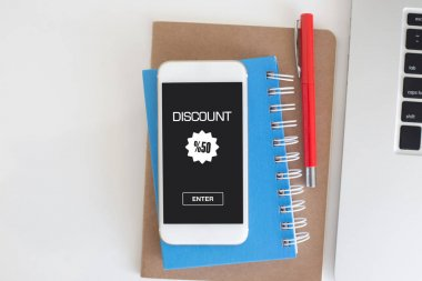 DISCOUNT   concept  on screen