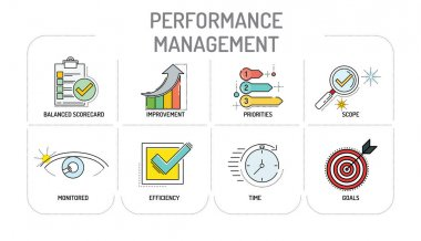 PERFORMANCE MANAGEMENT - Line icons Concept