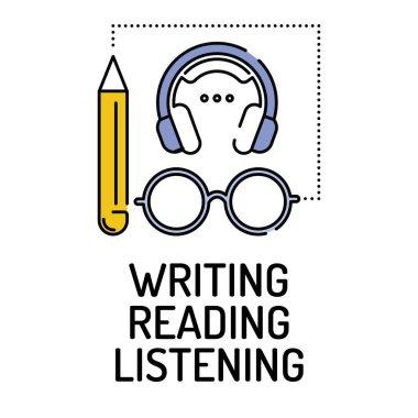 WRITING READING LISTENING Line icon
