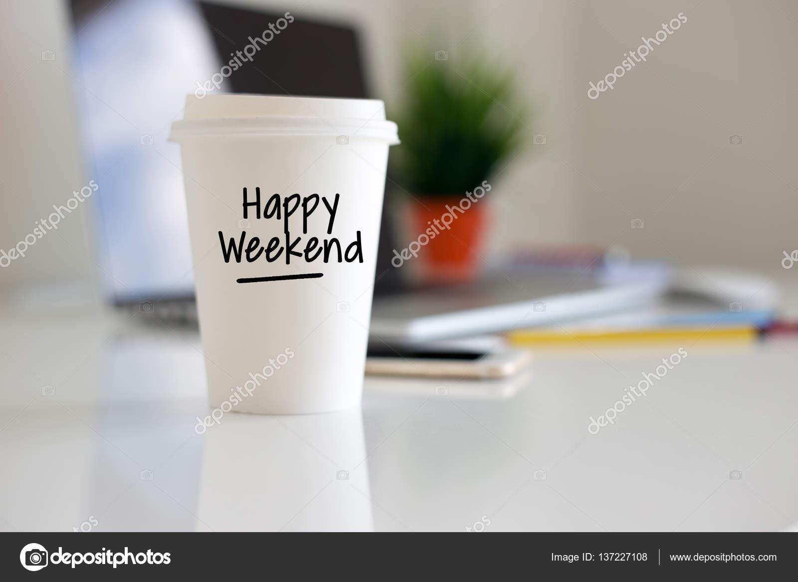 Bonne week-end tasse de café — Photo