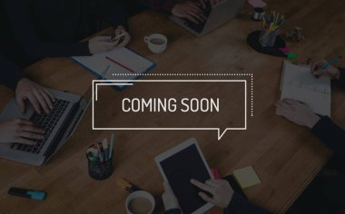BUSINESS TEAMWORK WORKING OFFICE BRAINSTORMING COMING SOON CONCE