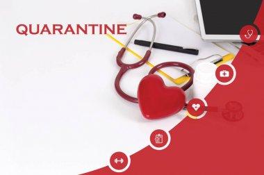 MEDICINE, HEALTH CONCEPT: QUARANTINE stock vector