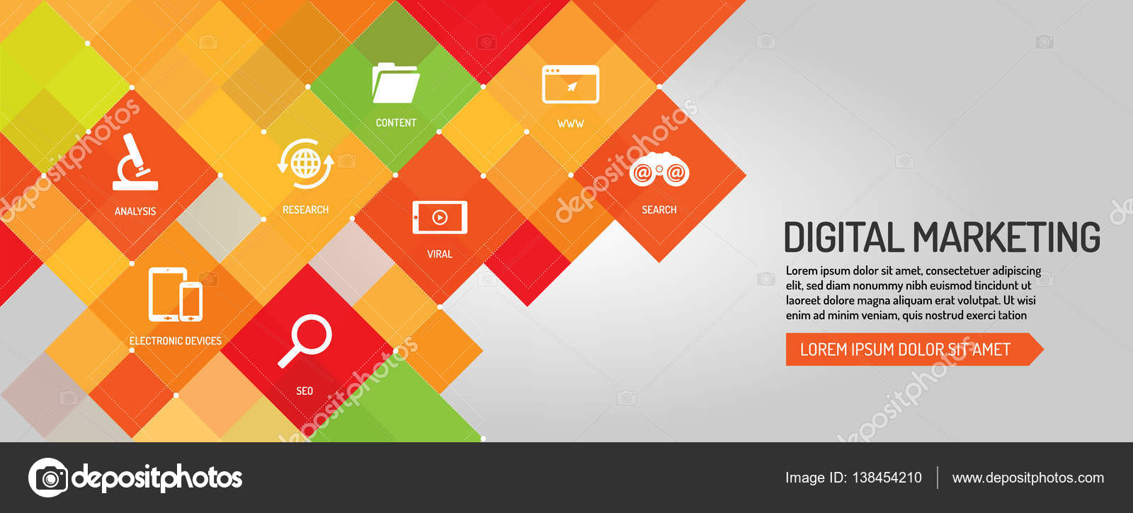 Flat Line Design Of Banner Template With Outline Icons Marketing Promotion Digital