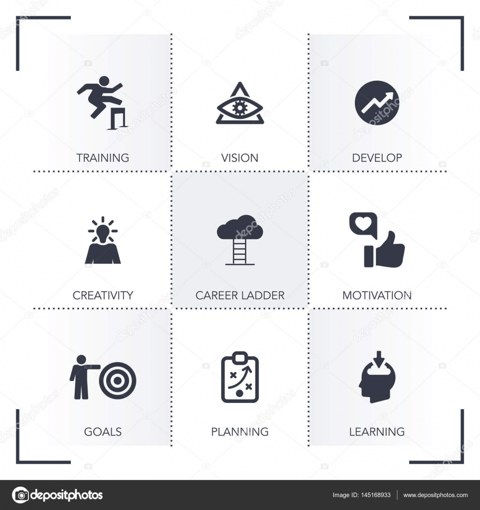 Personal Growth Icon Set Stock Vector Garagestock 145168933