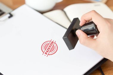 stamp on white paper