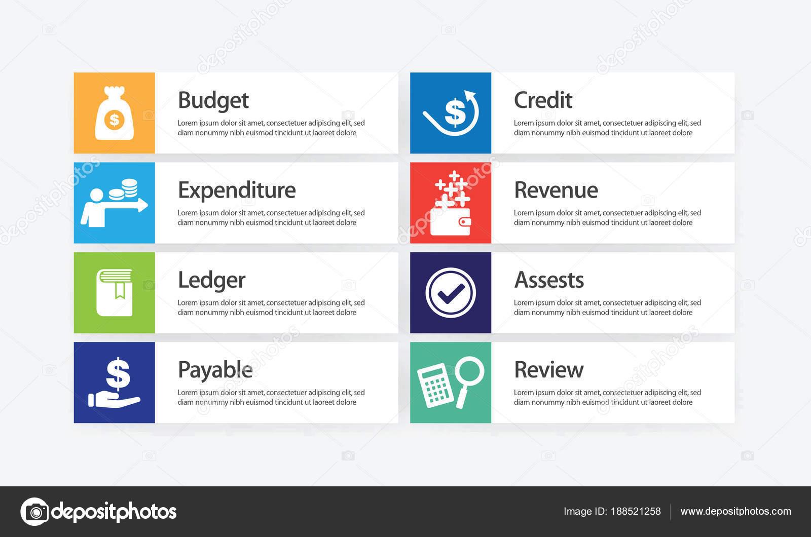 Conjunto de iconos infografía de contabilidad — Archivo Imágenes ...