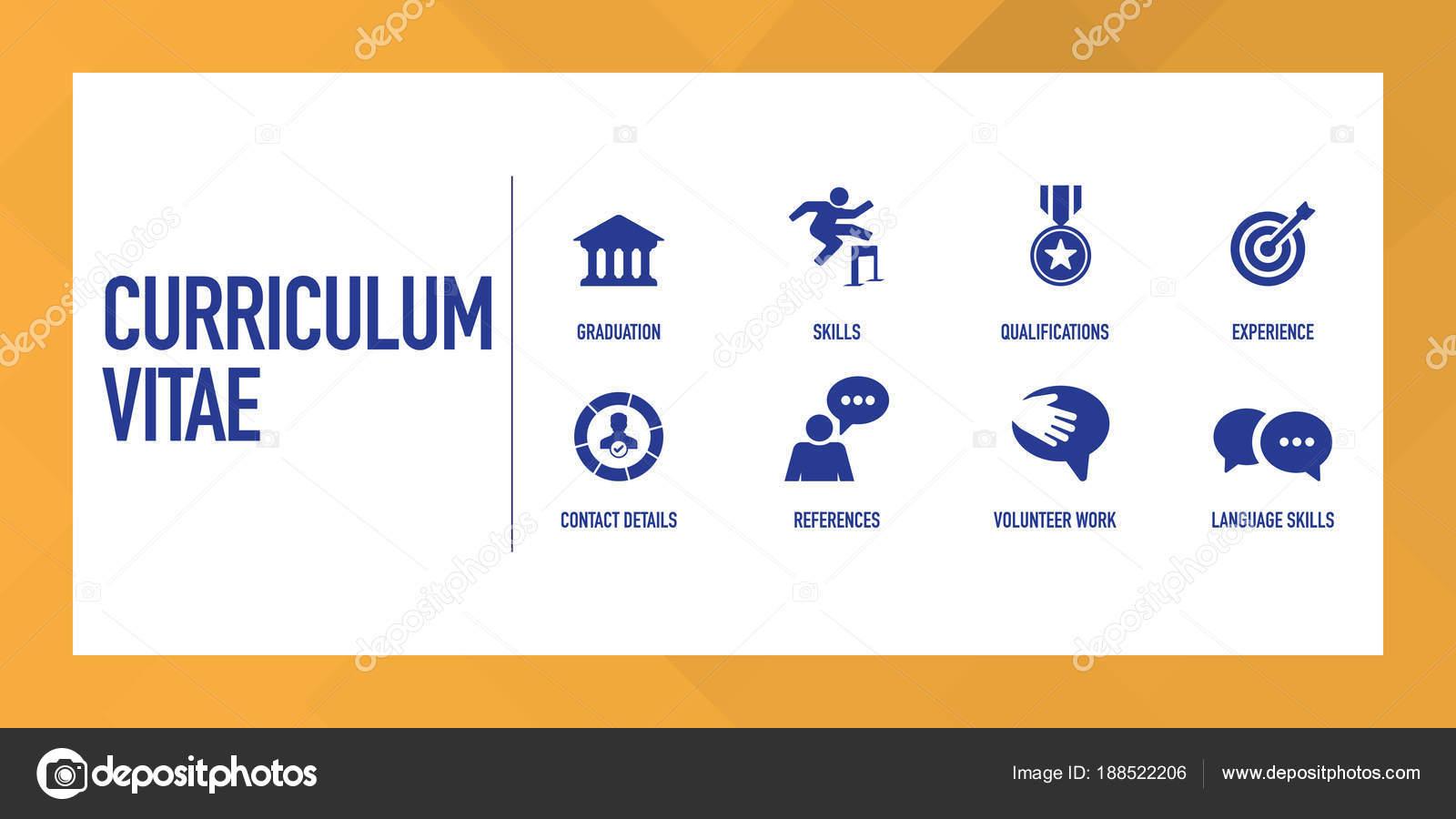 Curriculum Vitae Infographic Icon Set Stock Vector C Garagestock