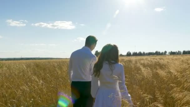 A man and a woman in white suits are walking along the field with wheat.