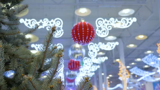 christmas tree is decorated in a shopping center holiday decorations big balls - Christmas Decoration Video
