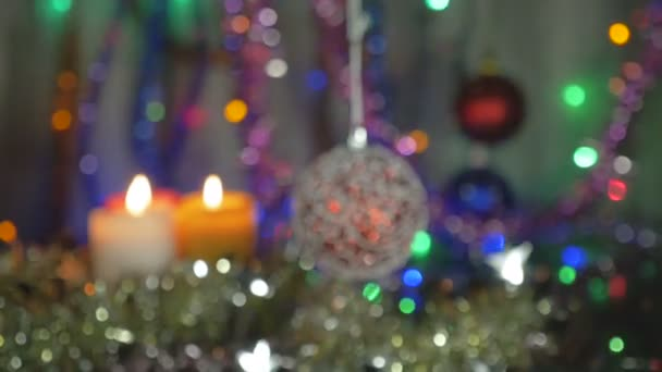 new year and christmas decorations flashing garlands blurred background