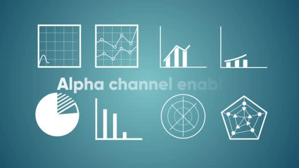 Animierte Symbole von Finanzdiagrammen. Alpha-Kanal läuft.
