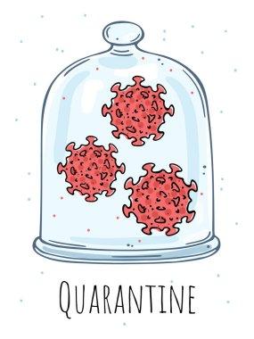 Cam çan altında bir virüs tasviri. Karantinaya alın. Beyaz arkaplandaki renk resmi.